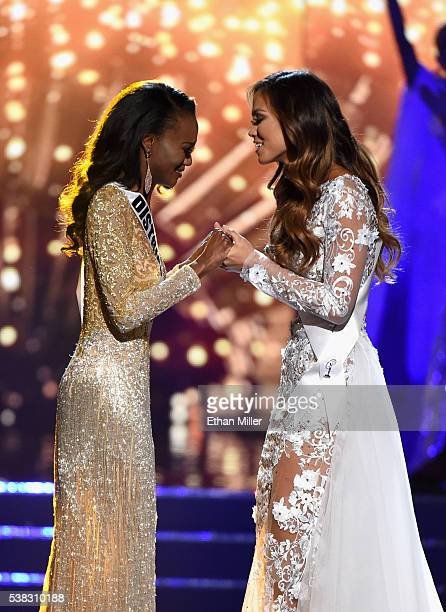 Miss District of Columbia USA 2016 Deshauna Barber and Miss Hawaii USA 2016 Chelsea Hardin hold hands as Miss District of Columbia USA 2016 Deshauna...
