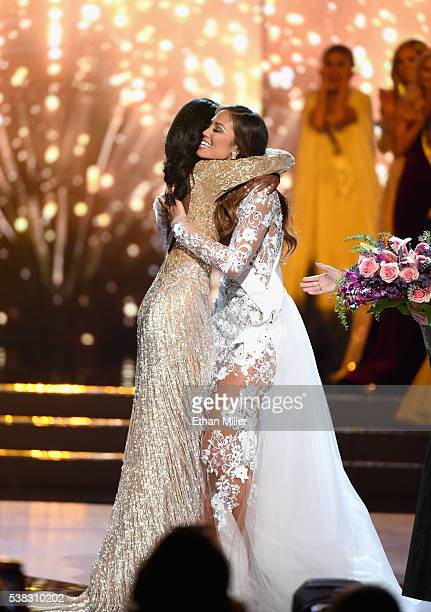 Miss District of Columbia USA 2016 Deshauna Barber and Miss Hawaii USA 2016 Chelsea Hardin embrace after Barber was named the new Miss USA during the...