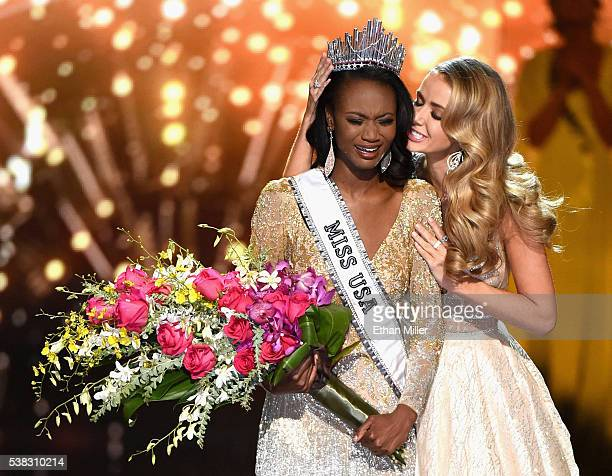 Miss District of Columbia USA 2016 Deshauna Barber reacts as she is crowned Miss USA 2016 by Miss USA 2015 Olivia Jordan during the 2016 Miss USA...