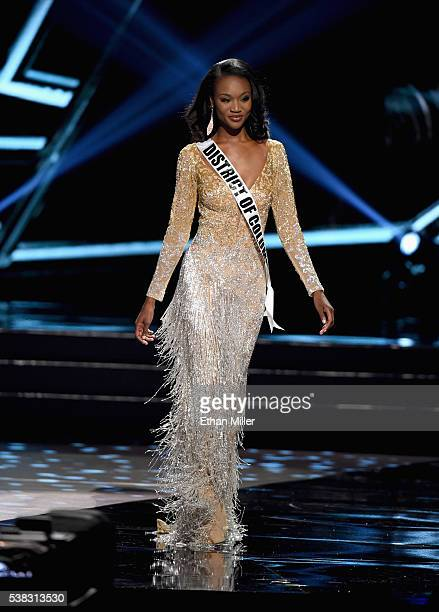 Miss District of Columbia USA 2016 Deshauna Barber walks onstage as one of the top three finalists during the 2016 Miss USA pageant at TMobile Arena...