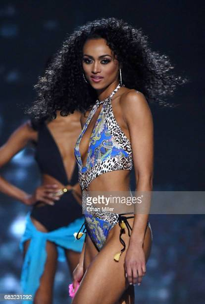 Miss District of Columbia USA 2017 Kara McCullough competes in the swimsuit competition during the 2017 Miss USA pageant at the Mandalay Bay Events...