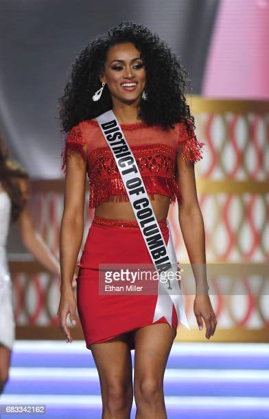 Miss District of Columbia USA 2017 Kara McCullough is introduced during the 2017 Miss USA pageant at the Mandalay Bay Events Center on May 14 2017 in...