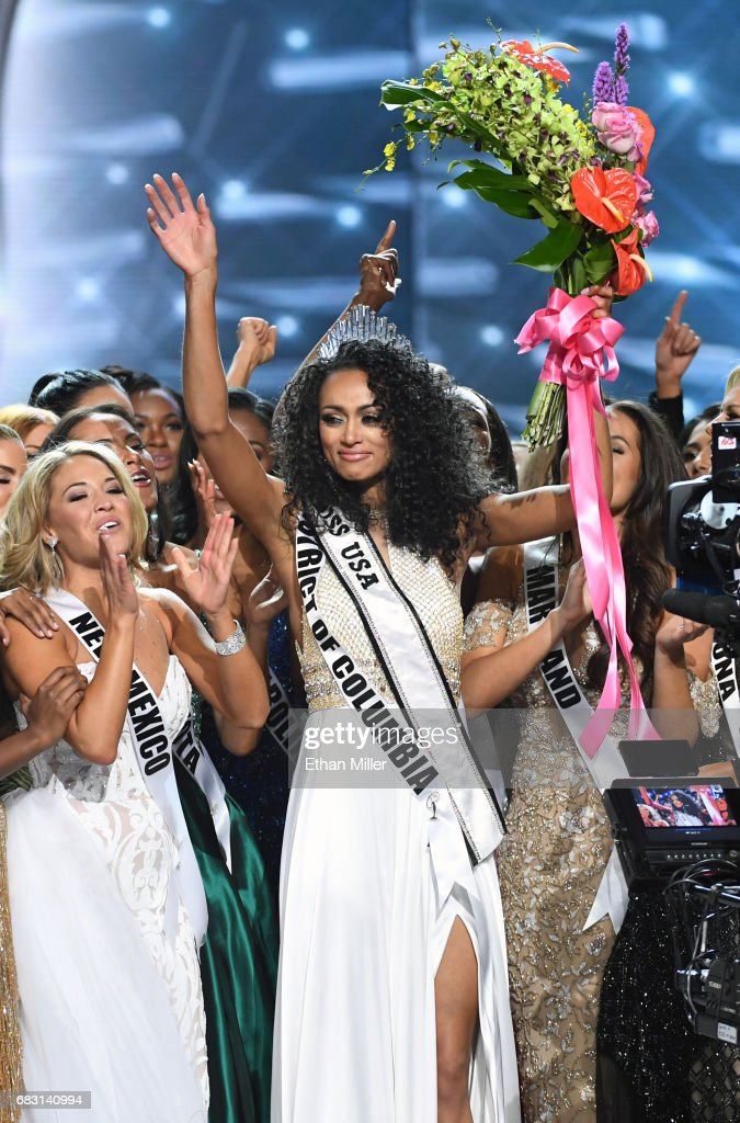 Miss District of Columbia USA 2017 Kara McCullough (C) is surrounded by fellow contestants after she was crowned Miss USA 2017 during the 2017 Miss USA pageant at the Mandalay Bay Events Center on May 14, 2017 in Las Vegas, Nevada.