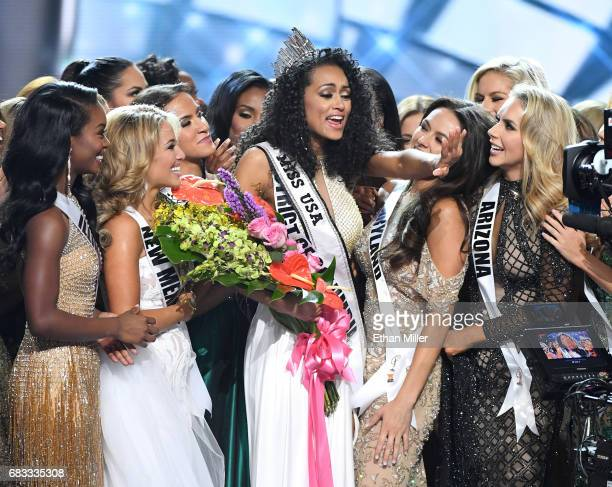 Miss District of Columbia USA 2017 Kara McCullough is surrounded by fellow contestants after she was crowned Miss USA 2017 during the 2017 Miss USA...