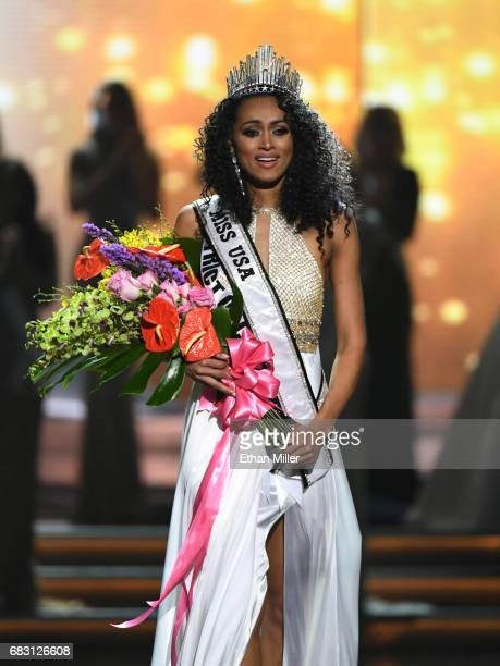 Miss District of Columbia USA 2017 Kara McCullough reacts after being crowned Miss USA 2017 during the 2017 Miss USA pageant at the Mandalay Bay...