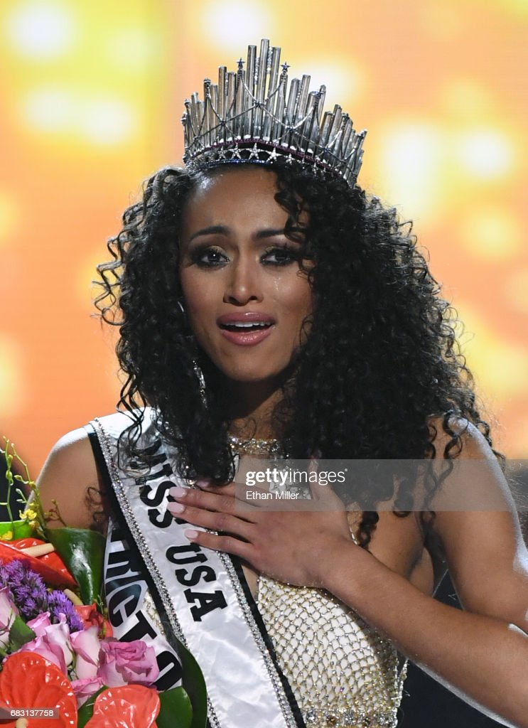 Miss District of Columbia USA 2017 Kara McCullough reacts after being crowned Miss USA 2017 during the 2017 Miss USA pageant at the Mandalay Bay Events Center on May 14, 2017 in Las Vegas, Nevada.