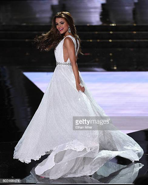 Miss Dominican Republic 2015 Clarissa Molina competes in the evening gown competition during the 2015 Miss Universe Pageant at The Axis at Planet...