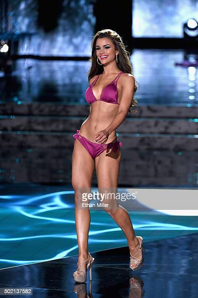 Miss Dominican Republic 2015 Clarissa Molina competes in the swimsuit competition during the 2015 Miss Universe Pageant at The Axis at Planet...