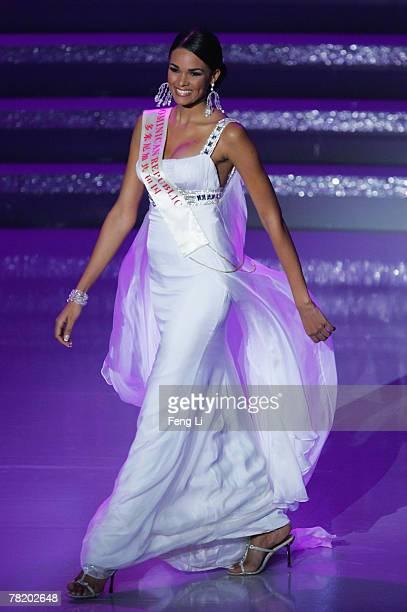 Miss Dominican Republic Ada Aimee De La Cruz participates in the 57th Miss World final contest at the Beauty Crown Theatre on December 1 2007 in...