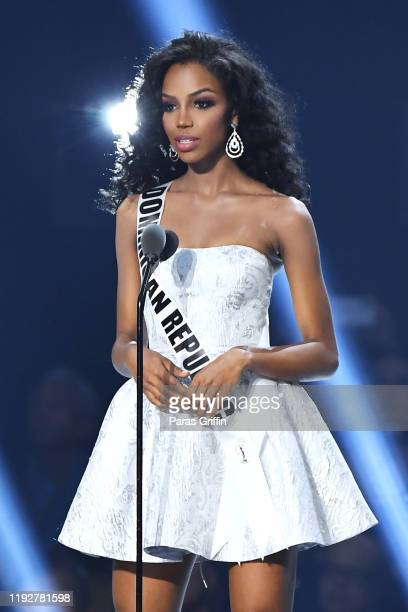 Miss Dominican Republic Clauvid Daly appears onstage at the 2019 Miss Universe Pageant at Tyler Perry Studios on December 08 2019 in Atlanta Georgia