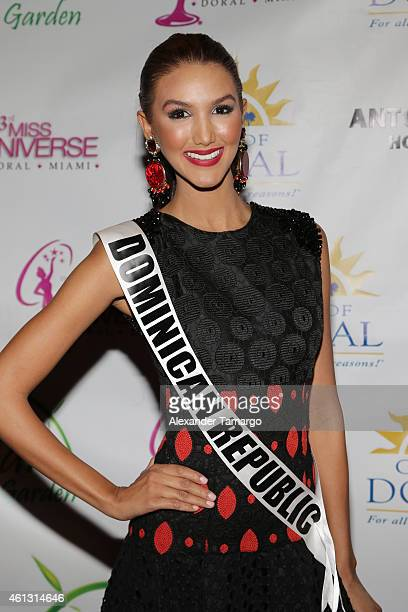 Miss Dominican Republic Kimberly Castillo arrives at Solare Garden in preparation for the 63rd Annual Miss Universe Pageant on January 10, 2015 in...