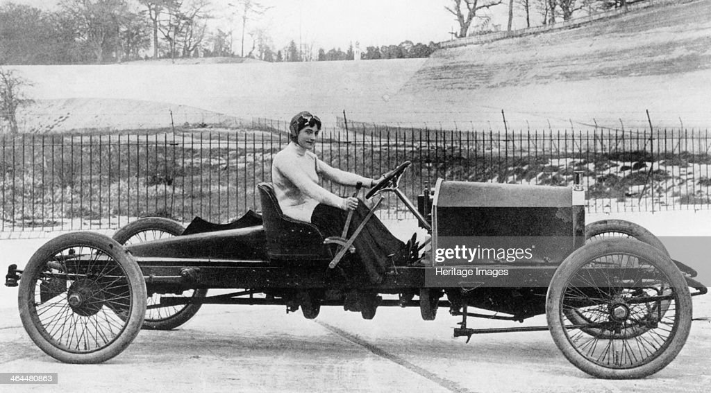 Miss Dorothy Levitt, in a 26hp Napier, Brooklands, 1908. In 1903 she won her class at the Southport Speed Trials. In 1906 she broke the women's world speed record recording a speed of 96mph.