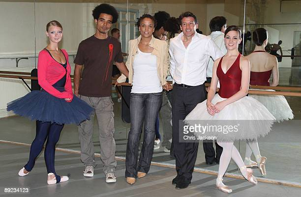 Miss Dynamite Akala and Lord Sebastian Coe pose for a photograph after taking part in a 'Ballet Insights' Class with members of the English National...