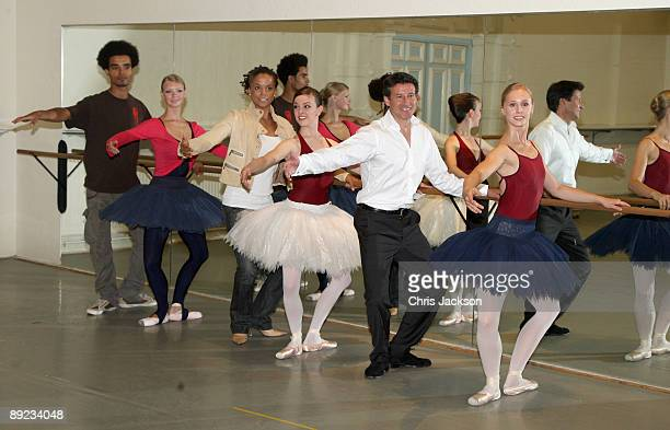 Miss Dynamite Akala and Lord Sebastian Coe takes part in a 'Ballet Insights' Class with members of the English National Ballet at Markova House as he...