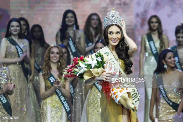 Miss Earth 2017 Karen Ibasco holds her crown during the coronation night at the Mall of Asia Arena in Pasay City south of Manila Philippines on...