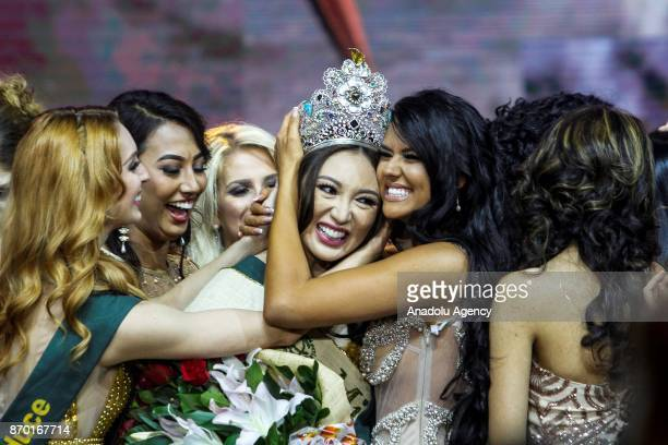 Miss Earth 2017 Karen Ibasco is greeted by fellow candidates after during the Miss Earth 2017 coronation night at the Mall of Asia Arena in Pasay...