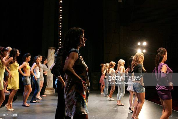 Miss Earth Australia finanlists rehearse at the Enmore Theatre September 13 2007 in Sydney Australia Thirtyfive finalists are assessed by judges...