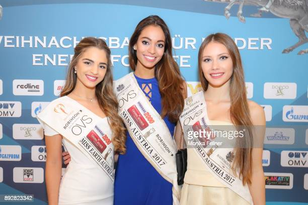 Miss Earth Austria Bianca Kronsteiner MIss Austria Celine Schrenk and Miss World Austria Sarah Chvala attend the Energy for Life Christmas gala for...