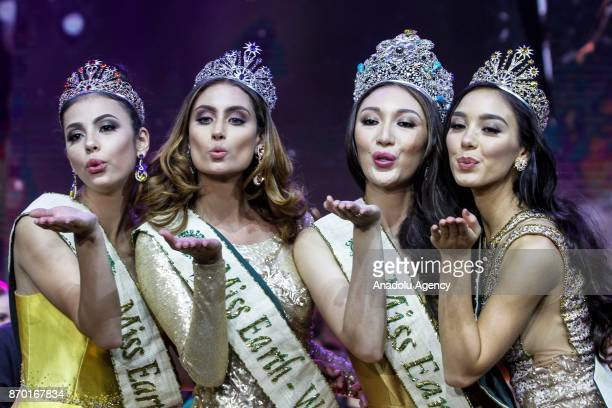 Miss Earth Fire Lada Akimova of Russia Miss Earth Water Juliana Franco of Colombia Miss Earth Karen Ibasco of Philippines and Miss Earth Air Nina...