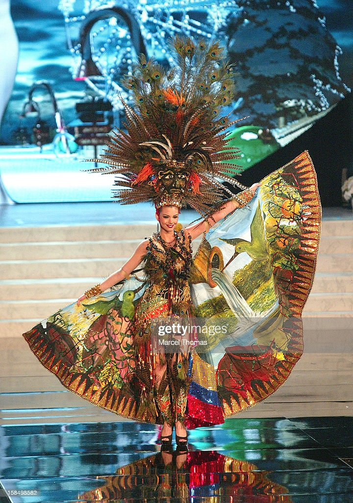 Miss Ecuador Carolina Aguirre displays her national costume at the 2012 Miss Universe National Costume event at Planet Hollywood Casino Resort on December 14, 2012 in Las Vegas, Nevada.