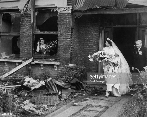 Miss Ena Squire-Brown, an international dancer famed for her 'Dove Dance', leaves her recently bombed home for St. George's Church in Forest Hill, to...