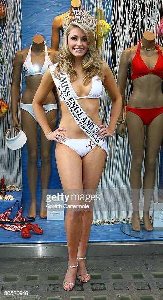 Miss England 2008 Georgia Horsley launches the official Miss England Bikini 2008 by Aguaclara on the Kings Road on April 4 2008 in London England