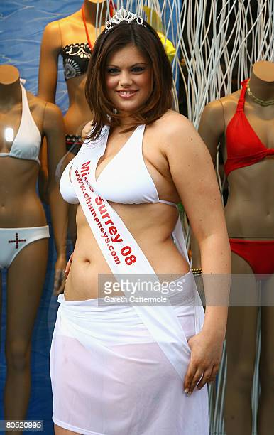 Miss England 2008 semi finalist Chloe Marshall launches the official Miss England Bikini 2008 by Aguaclara on the Kings Road on April 4 2008 in...