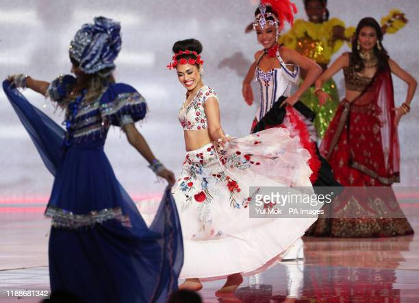 Miss England 2019 Bhasha Mukherjee during the 69th Miss World annual final at the ExCel London