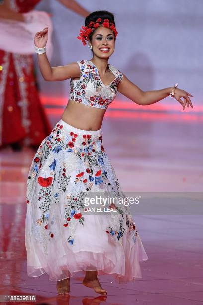 Miss England Bhasha Mukherjee during the the Miss World Final 2019 at the Excel arena in east London on December 14 2019