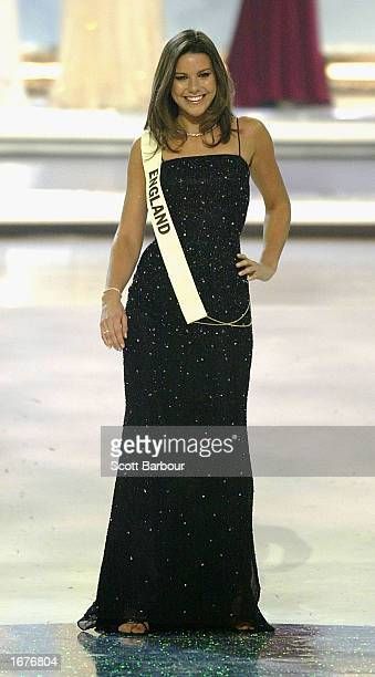 Miss England Daniella Luan stands as she is introduced to the audience at the Miss World 2002 competition December 7 2002 in London England The Miss...