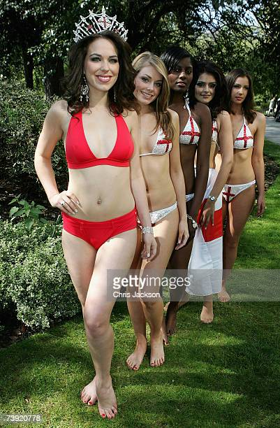 Miss England Eleanor Glynn poses for a photograph with Georgia Horsley Rachael Williams Mandeep Sidhu and Mary Hawkins at the Multicultural Beauty...