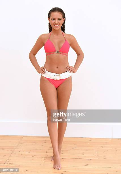 Miss England finalist Jennifer McSween attends the Miss England Beach Beauty photocall on August 4, 2015 in London, England. The theme of the shoot...