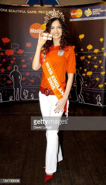 Miss England Hammasa Kohistani during 2006 FIFA World Cup Prepaid MasterCard Launch and Photocall at Sports Café in London Great Britain