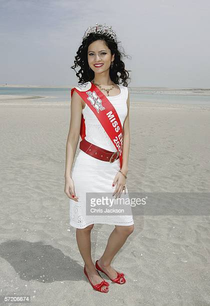 Miss England Hammasa Kohistani poses during photocall on the manmade island known as 'United Kingdom' in the new development The World as part of the...