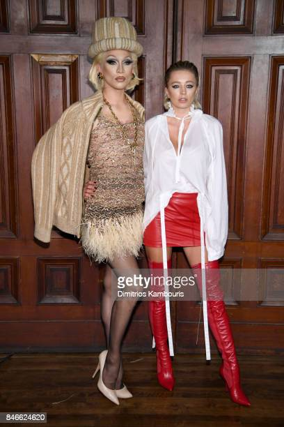 Miss Fame and Caroline Vreeland attend Marc Jacobs SS18 fashion show during New York Fashion Week at Park Avenue Armory on September 13 2017 in New...