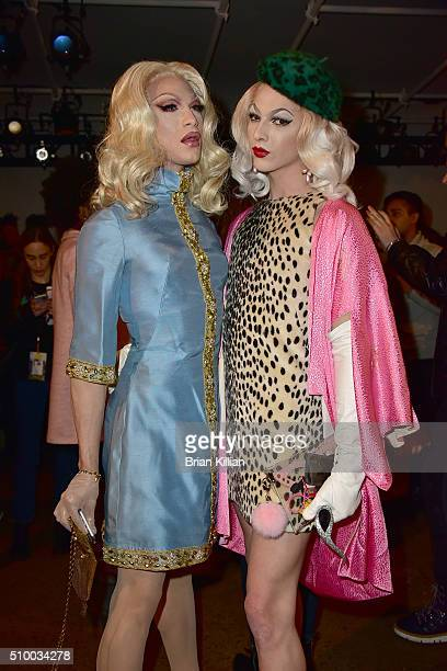 Miss Fame and Violet Chachki attend the Pyer Moss Fall 2016 show during MADE Fashion Week at Milk Studios on February 13 2016 in New York City