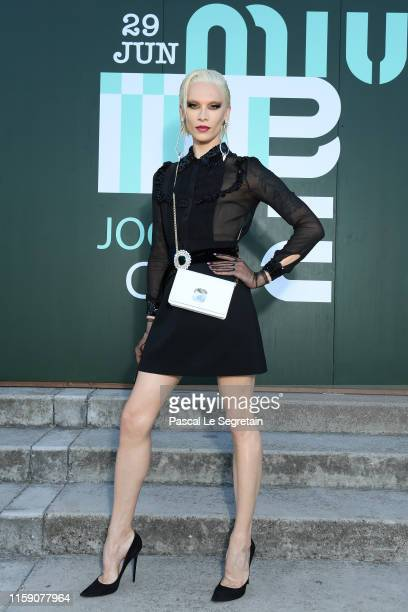 Miss Fame attends miu miu club event at Hippodrome d'Auteuil on June 29 2019 in Paris France