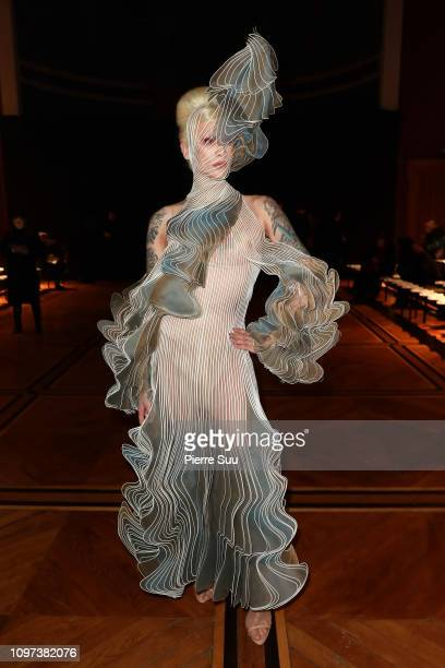 Miss Fame attends the Iris Van Herpen Haute Couture Spring Summer 2019 show as part of Paris Fashion Week on January 21 2019 in Paris France