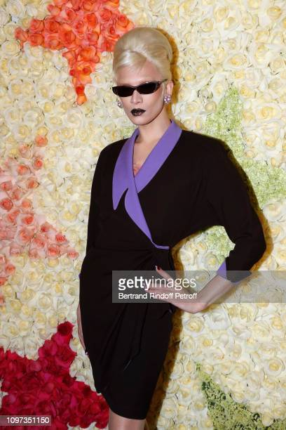 Miss Fame attends the Schiaparelli Haute Couture Spring Summer 2019 show as part of Paris Fashion Week on January 21 2019 in Paris France