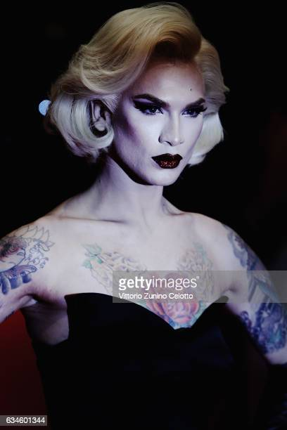 Miss Fame attends the 'T2 Trainspotting' premiere during the 67th Berlinale International Film Festival Berlin at Berlinale Palace on February 10...