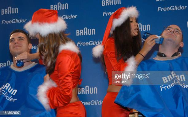 Miss February 2001 Lauren Michelle Hill and 2003 Playmate of The Year Christina Santiago give shaves with Braun Freeglider