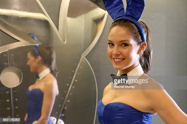 Miss February 2008 Michelle McLaughlin prepares for Playboy's 60th Anniversary special event on January 16 2014 in Los Angeles California