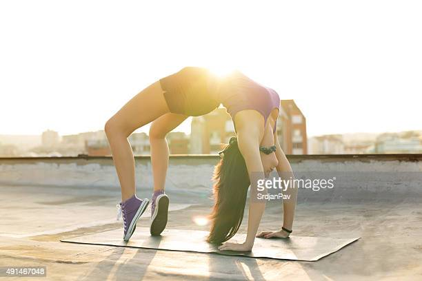 miss flexibility - perfect female body shape stock photos and pictures