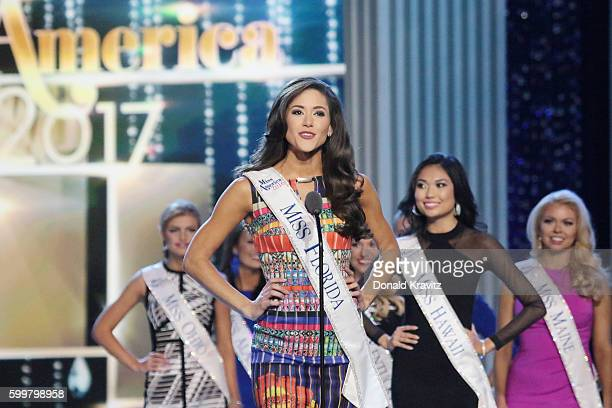 Miss Florida Courtney Sexton speaks during Miss America 2017 1st Night of Preliminary Competition at Boardwalk Hall Arena on September 6 2016 in...