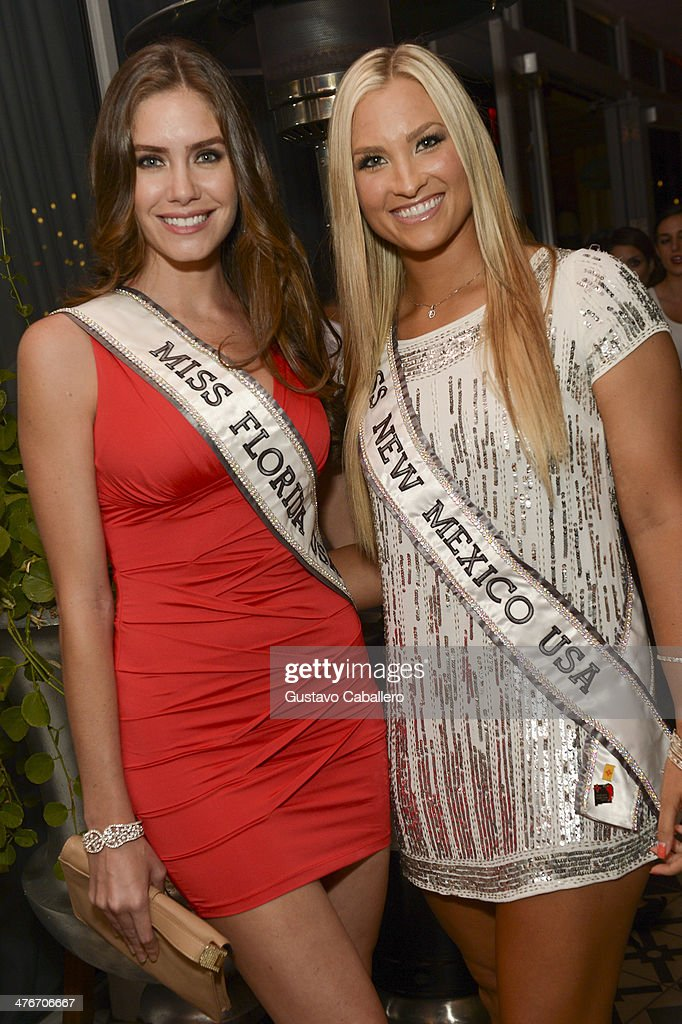 Miss Florida USA Brittany Oldehoff and Miss New Mexico USA Kamryn Blackwood attend The Opening Drive Party at Hyde Beach on March 4, 2014 in Miami, Florida.