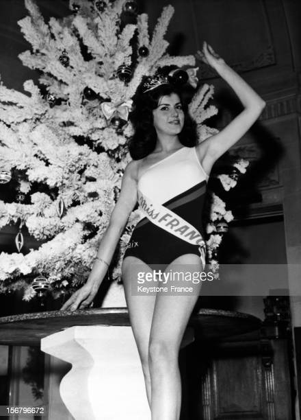 Miss France 1965 Christine Sibellin Miss Lyon posing in Versailles France on January 01 1965