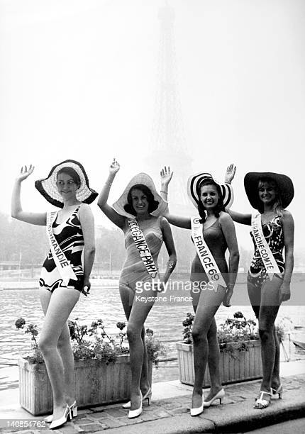 Miss France 1969 Suzanne Angly accompanied by her vice misses Miss Normandie Micheline Beaugrain Miss Paris Elegance Beatrice Demiaude and Miss...