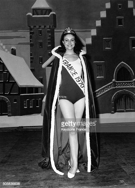 Miss France 1970 Micheline Beaurain posing after her election in the Sports Palace of Mulhouse France on January 1 1970