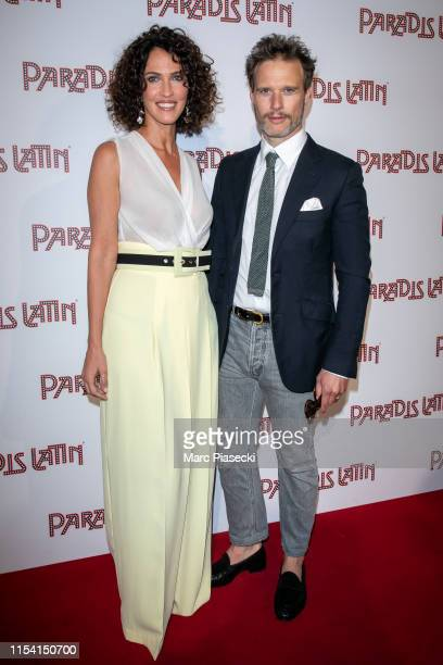 Miss France 1992 Linda Hardy and actor Axel Kiener attend the L'Oiseau Paradis show at Le Paradis Latin on June 06, 2019 in Paris, France.