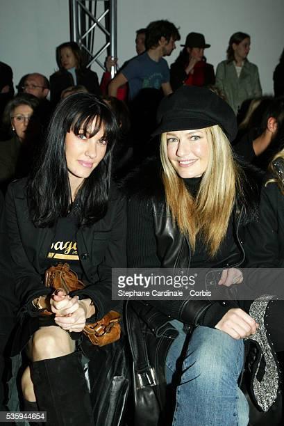 Miss France 1999 Mareva Galanter and Dutch supermodel and actress Karen Mulder attend the JeanCharles de Castelbajac readytowear 2004 fashion show